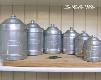 Vintage French aluminum canisters - 1940s kitchen storage pots - Set of 6 - Sugar, flour, coffee, pasta, tea and pepper