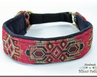 Dog collar TAPIS, Martingale, red