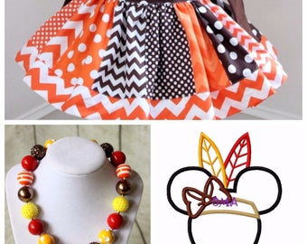 Minnie Mouse Thanksgiving outfit. Girls Disney Minnie Indian Thanksgiving shirt with matching skirt and necklace. Size 2t 3t 4t 5 6 8 10 12