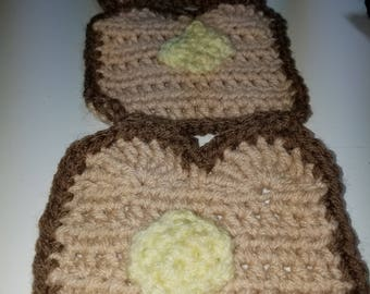 Crocheted acrylic scarf 66 x 5 inches, brown tan yellow, novelty