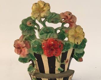 Amazing 1920s Floral Basket Cast Iron Door Stop
