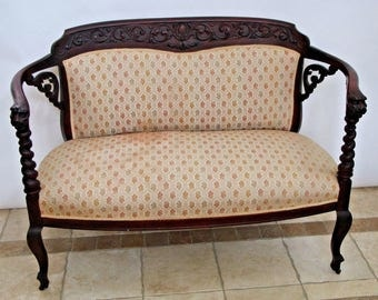 Antique Victorian style Carved Lion Head Barley twist arms Parlour Settee Sofa Safe Nationwide shipping available please call for best rates