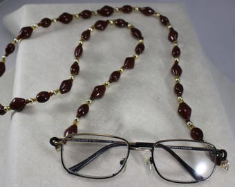 Glass Beads, Eyeglass Holder, handmade, jewelry, women's accessories,brown,gold,glasses,accessory,