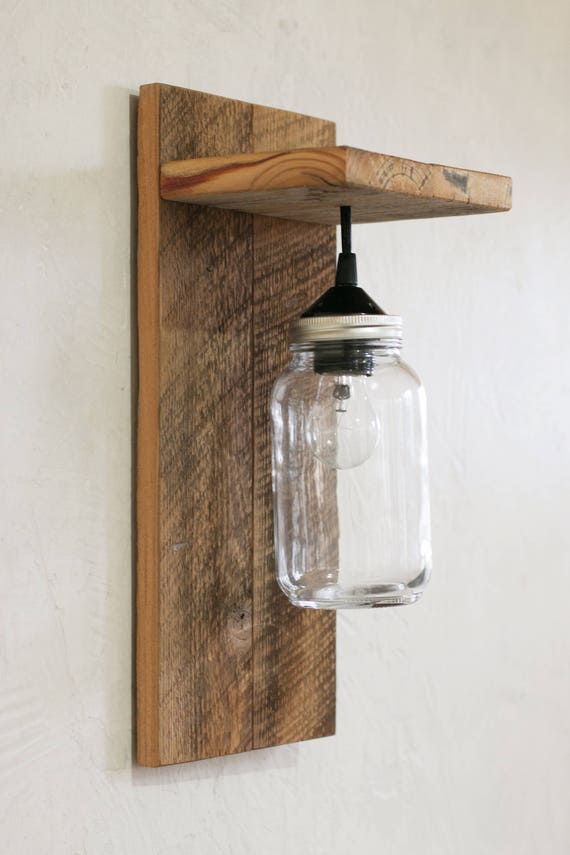 Mason jar light fixture reclaimed wood wall sconce like this item aloadofball Image collections
