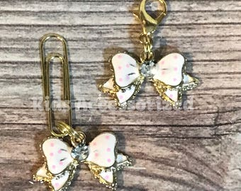 Enamel bow planner charm - Pink and gold