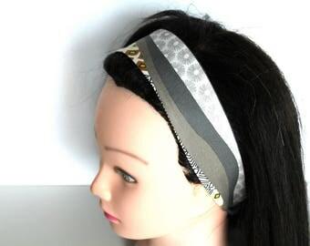Bandeau cheveux femme jaune et gris