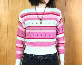 Vintage Pink Striped Retro Sweater 70s Cropped Sweaters for Women ~ Small