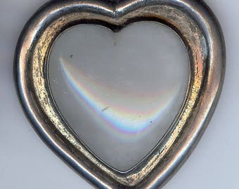 VINTAGE 1940'S MEXICO STERLING silver quartz heart pin brooch