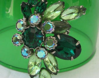 Vintage and Beautifully Designed Rhinestone Brooch, Shades of Green, Emerald, Peridot and Aurora Borealis Accents