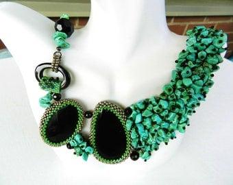 Boho Statement Necklace Turquoise Black Onyx Chunky Necklace Green Turquoise Collar Necklace Beadwork Beadwoven by AlfaStudioArtistica