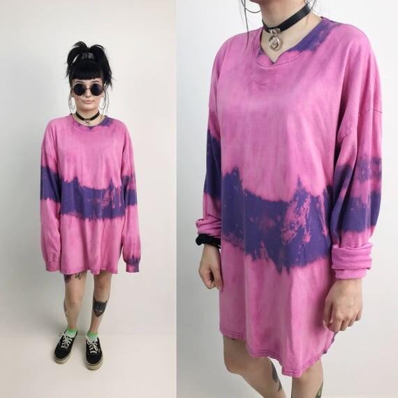 Tie Dye Pink & Purple Bleach Long Sleeve Unisex Shirt XL - 90's Grunge Baggy Slouchy Long Sleeve Cotton Candy Tie Dye Sporty Two Tone Tee