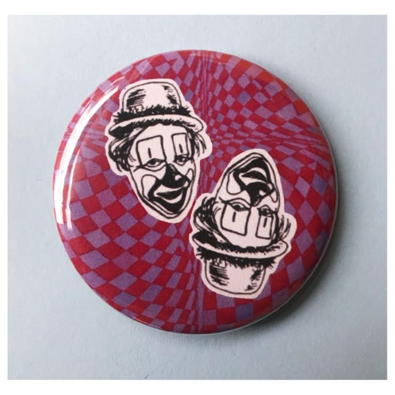 "2.25"" Pinback Button - Creepy Clowns Large Pinback Button - Handmade Weird Round Pin - Sad Clowns Creepy Trippy Tumblr Trendy Accessories"