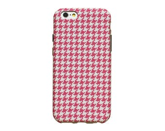 Pink houndstooth design, phone case for an iPhone 6 or iPhone 6 Plus