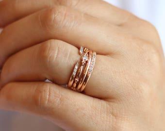 Four Rings Set / 14K Soid Gold