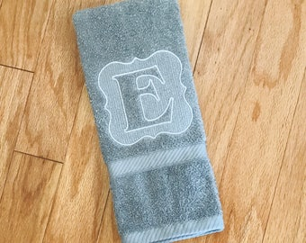 Embossed Monogrammed Towel, Decorative Hand Towel, Initial Towel, Personalized Wedding Gift, Anniversary Present, Housewarming Gift