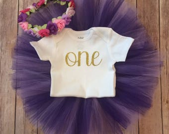 First Birthday Outfit Girl, Purple  and Gold Girl, Purple Baby, Smash Cake Girl, 1st Birthday Girl Outfit, Girl First Birthday Outfit