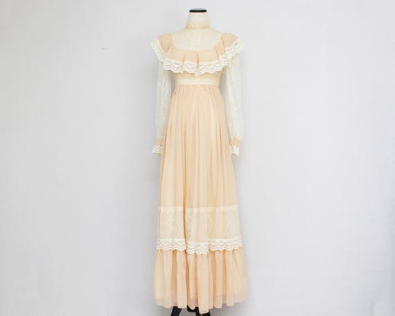 Vintage 1970s Gunne Sax Voile Prairie Wedding Dress - Size Small