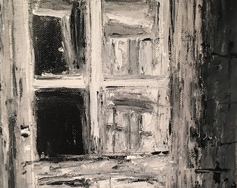 Black and White Door, sketch, oil Painting One of a kind Hand painted Artwork Impressionism Signed with Certificate of Authenticity