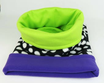 Small - Reversible Cuddle Sack - Purple or Lime Puppy Bed, Burrow Dog Bed, Burrow Pet Bed,  Dachshund Bed, Chihuahua Sack, Cat Snuggle Bag