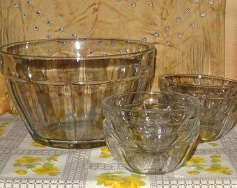 Vintage Salad Bowl Set / Clear Glass Salad Bowl / Large Salad Bowl / Glass Salad Bowl / Fruit Bowl