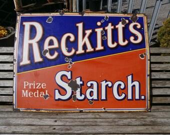 Reckitt's Starch Enamel Advertising Sign
