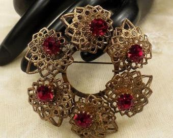 ON SALE Vintage West Germany Circular Ruby Red Coloured Rhinestone Filigree Brooch
