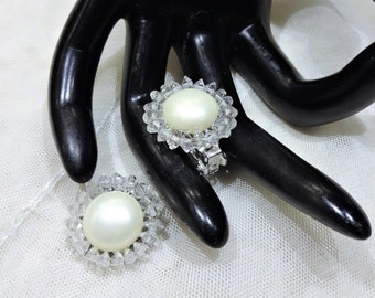 Pretty Vintage Marvella  Faux Mabe Pearl and Clear Crystal Earrings