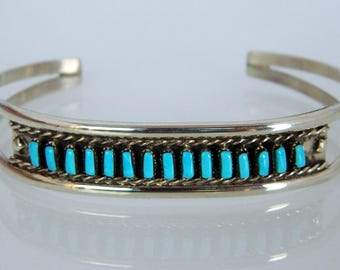 Native American Navajo Turquoise Sterling Silver Row Bracelet Signed Anna Begay