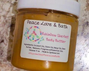 Rainbow Sherbet Body Butter - made with Hemp Oil - Shea Butter - Coconut Oil