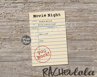 Library card, redbox code, movie night gift tag, last minute gift, teacher, neighbor, librarian printable template, instant digital download