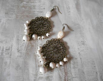 Earring bohemain style trend, white beads