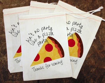 Kids Pizza Party Goodie Bag - Candy Bag Toddler Birthday Party / Thank You Gift Bag / Pizza Slice Party Favor / Pizza Party Decor / Goody