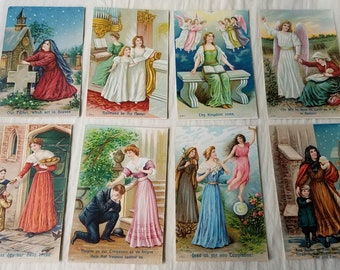 ca Early 1900s Original Antique Embossed Postcards. Complete 8 Card Set THE LORD'S PRAYER