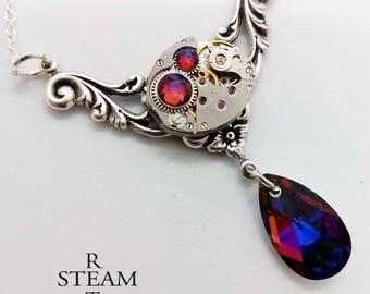Rococo Steampunk Necklace - Steampunk Jewelry - gift boxed - Swarovski volcano Crystal Necklace - steampunk - necklace - steampunk wedding