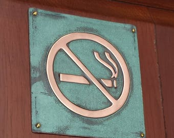 "No Smoking sign Plaque 4.5""""/115mm square in polished and patinated copper sheet with fixings g"