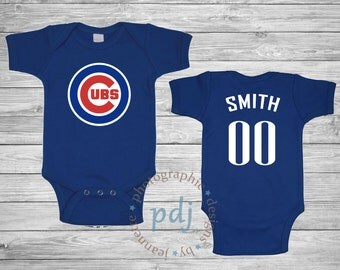 Chicago onesie etsy personalized chicago cubs baby one piecebib perfect as a baby shower gift negle Images