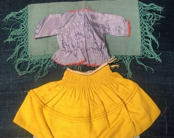 Vintage Peruvian Santos Clothing Set ( Shirt, Skirt, Petticoat, Shawl ) in Purple, Yellow, Eggshell White, and Mint Green