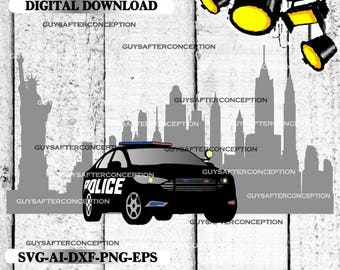 Police Car New York Color Digital File  Ai - Eps - PNG - DXF - Svg