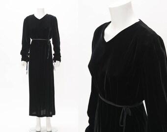 SALE vintage 1980s/1990s Ann Demeulemeester Black Velvet Wrap Dress • Revival Vintage Boutique