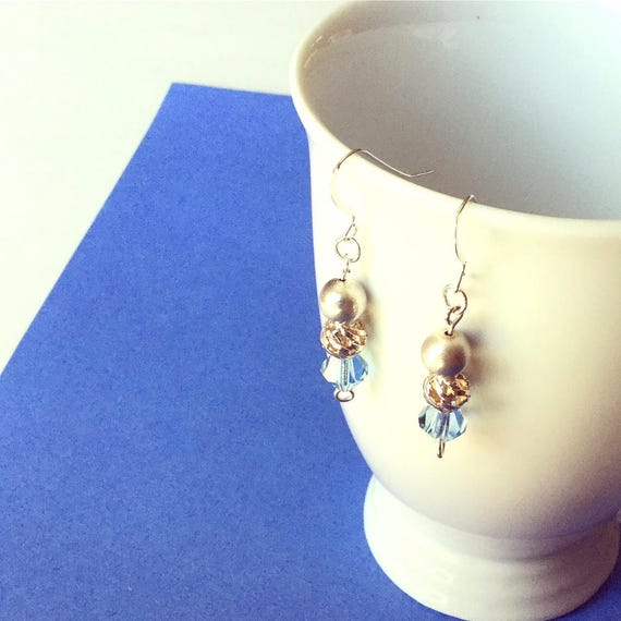 Drop Earrings in Sterling Silver and Blue Swarovski Cystal for Pierced Ears, Gift for Her, Treat for Yourself