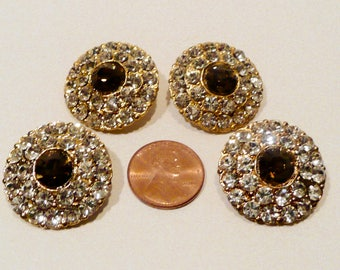 Four Vintage Rhinestone Buttons
