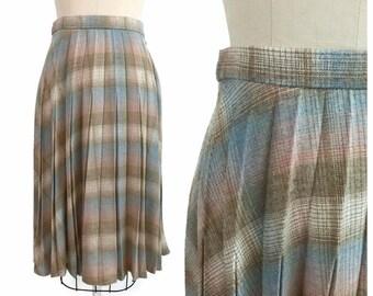 Vintage Wool Skirt / 1970s  Pastel Midi Wool Plaid Skirt / 70s Pink and Blue Knee Length Pleated Skirt