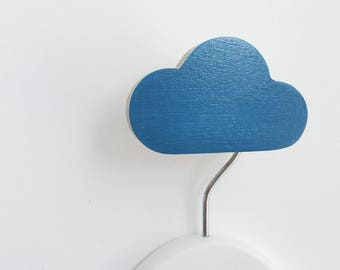 Wall Hook Cloud Ocean Blue, Kids Wall Hook, Kids Hooks, Kids Room Decor, Wooden Wall Hooks, Wall Hooks for Kids