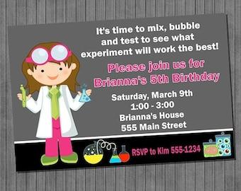 ON SALE Little Scientist Birthday Invitations