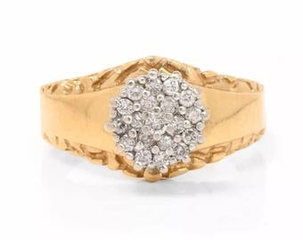 SALE! Vintage Micro Pave Diamond 14k Yellow Gold Wide Band Engagement Ring Sz 7.5