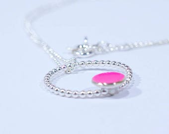 Contemporary Silver and Pink Circle Necklace