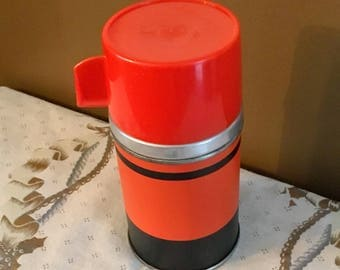 "Vintage Aladdin No. 3B Half Pint Vacuum Bottle ""ECONOMY"" Red and Black THERMOS 1960s"