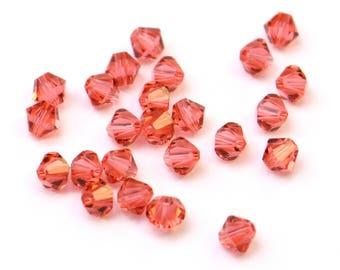 Indian Pink 4mm - 24 Pieces Clear Authentic Swarovski Crystal Bicone Beads Fushia Fushcia