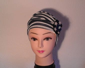 Blue and white striped chemo Hat