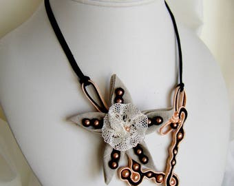 Linen and lace flower soutache necklace